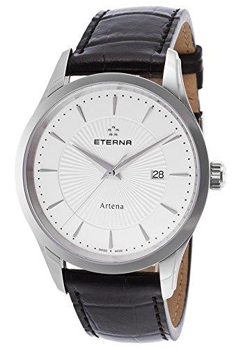 eterna 2520-41-11-1258 - Reloj para hombres, correa de cuero color negro