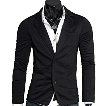 Mens Stylish Slim Fit Two-Button Knitting Blazer Top Jacket Outwear MF-3648