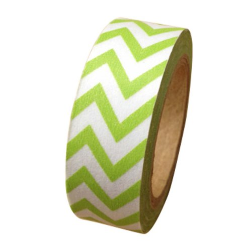 Dress My Cupcake Washi Decorative Tape for Gifts and Favors, Whimsy Chevron, Kiwi Green - 1