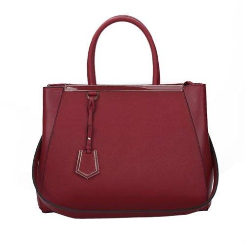 Fineplus Women's 100% Leather Cross Pattern Grain Shoulder Strap Tote Bag Wine-red
