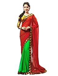 Admyrin Women's Green And Red Georgette Saree With Yellow Printed Blouse Piece