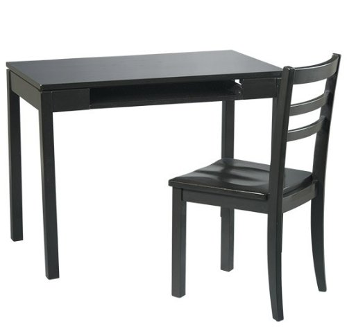 Buy Low Price Comfortable Office Star Wood Computer Desk and Chair Set in Black (B001G8PJ2O)
