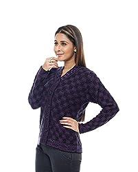 Perroni Women's Embroidered Cardigan (Purple, L)