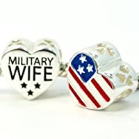 "Pro Jewelry.925 Sterling Silver ""2 Sided Military Wife Heart w/ American Flag"" Charm Bead 4134 from Pro Jewelry"
