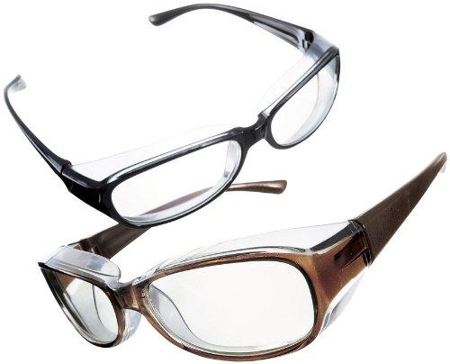 【花粉対策パソコンメガネ】2色2個セット 男女兼用フリーサイズ 花粉・ホコリ・症対策グッズ pc用メガネ 目の疲れにも 収納巾着ふくろ付