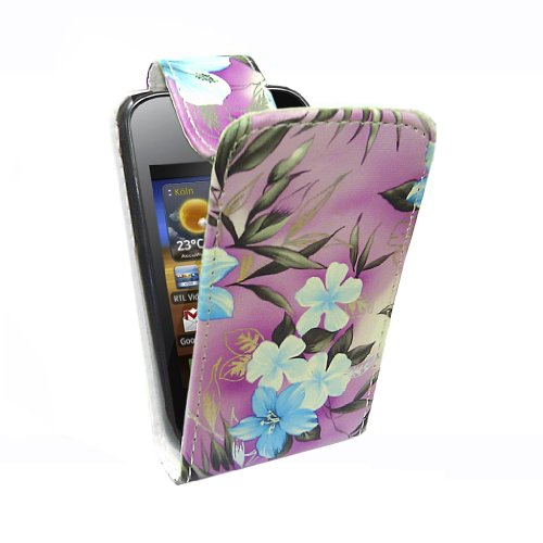 StyleBitz / Samsung Galaxy y / S5360 / stylish purple & blue floral Stoff Flip fall / neu