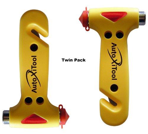 Car Escape Hammer - Autoxitool Twin Pack Auto Safety Hammer - Life Saving Car Window Breaker - Best Seatbelt Cutter - 100% Money Back Guarantee
