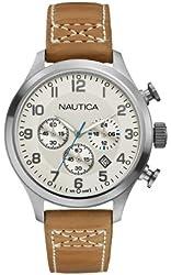 Nautica Men's BFD 101 Chronograph Quartz Tan Leather Watch - A14695G