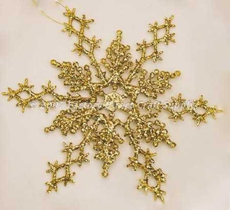 "36 - 6-1/2"" Gold Glitter Snowflake Ornaments Winter Wedding Favors or Ornaments"