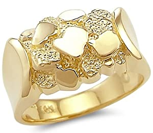 Size- 8 - Large 14k Solid Yellow Gold Mens Ladies Nugget Ring Big