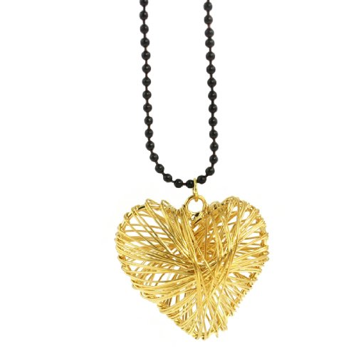 Rosallini Gold Tone Plated Wire Wrapped Heart Pendants Sweater Necklace