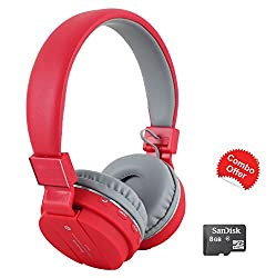 TECHWICH SH Red Bluetooth Headphone With FM and Calling with 8GB Sandisk Micro SD Memory Card FREE