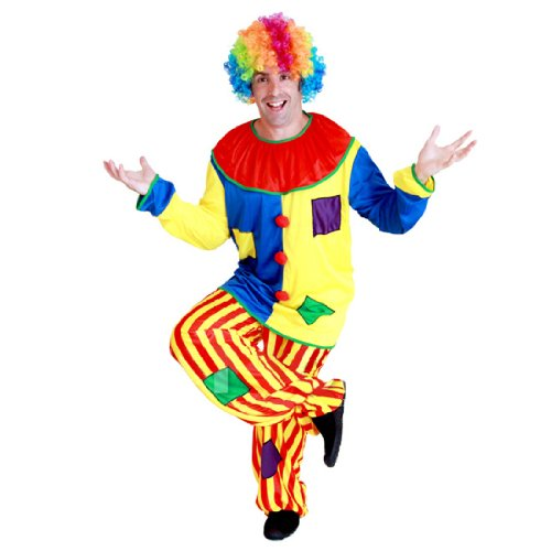 Renineic Adlut Halloween Party Clown Costume Outfit Suit With Rainbow Wig
