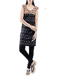 Unnati Silks Women Pracheen kala black-orange Pochampally cotton kurti