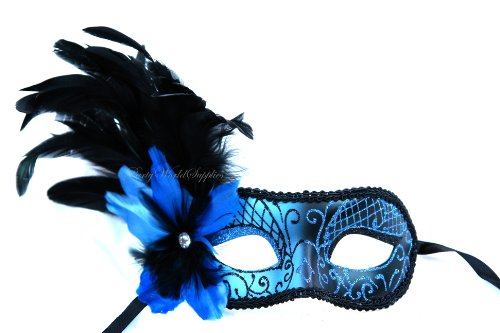 Masquerade Ball mask with Fancy feather Venetian Mask Costume Prom Party