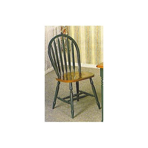 DELUXE WINDSOR CHAIR HUNTER GREEN AND DARK OAK FINISH - Dining Chairs