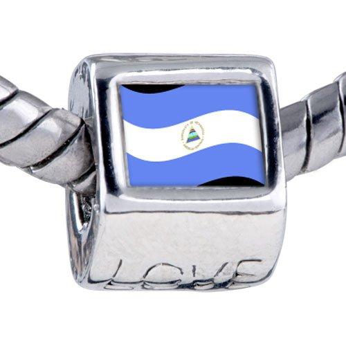 Pugster Bead Nicaragua Flag Photo Love European Charm Bead Fits Pandora Bracelet