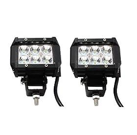 "Nilight 4"" 18w 6 Cree LED SUV Off-road Boat Headlight Spot Driving Fog Light Led Work Light Bar + Mounting Bracket(2pcs)"