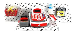 Velocity Toys Kx My Funny Register Pretend Play Battery Operated Toy Cash Register W/ Realistic Scanner W/ Beep, Flashing Light, Money, Credit Card, Groceries
