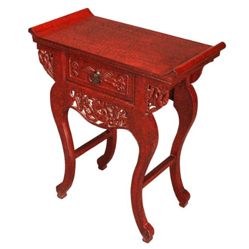 Cheap EXP Handmade Furniture 33-Inch Carved Oriental Console/End Table with Red Crackled Lacquer Finish (frc1053)