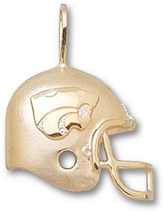 Kansas State Wildcats Power Cat Helmet Pendant - 14KT Gold Jewelry by Logo Art