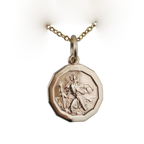9ct Gold 13x13mm hexagonal St Christopher Pendant with Cable chain 16 inches only suitable for children