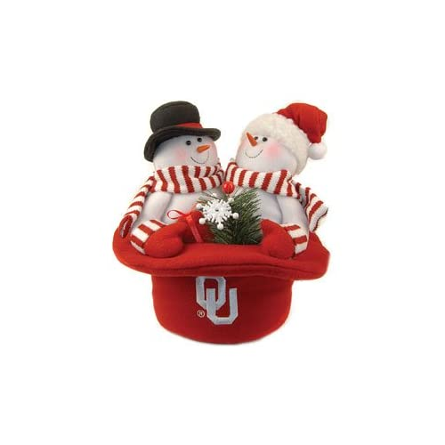 Oklahoma Sooners Snowmen Top Hat Embroidered Official Team Logo Snowman 10 X 12