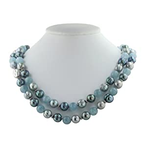 Click to buy Honora Pearl Necklaces: Aqua and Pearl Necklace from Amazon!