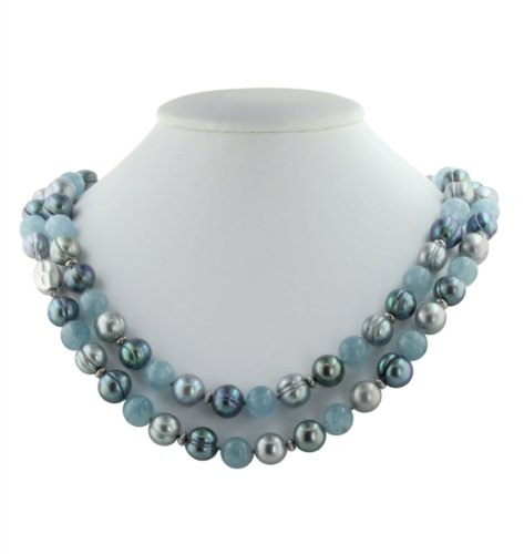 Aqua and Pearl Necklace