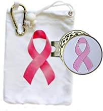 Pink Ribbon Tee Bag with Matching Tees and Pink Ribbon White Golf Ball Marker with Matching Hat Clip