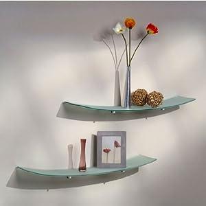 Aviana Valencia 8 inch x 36 inch Concave Clear Glass Shelf w/ Marseilles Polished Chrome Bracket