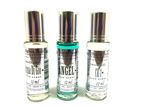 Heaven Scent Oil Perfume for Men; IMPRESSION of Famous Designers in a Glass Roller Bottles 12ml, each (3 Piece Bundle Set; GIO_ANGEL_CK-I TYPE OILS) by Heaven Scent Collection