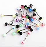Bbcbuy 20pc Colorful Stainless Steel Ball Barbell Tongue Rings Bars Piercing