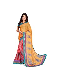 Anusha Orange,Hot Pink Georgette Self Printed With Attached Border Saree