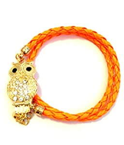 Goldtone Crystal Owl Lovers Orange Braid Wrap Around Bracelet
