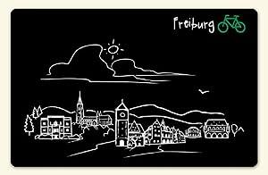 """Kühlschrankmagnet """"Skyline Freiburg"""" - als Geschenk für Breisgauer & Fans der Stadt am Fuss des Schwarzwalds oder als Freiburg Souvenir - die stadtmeister"""