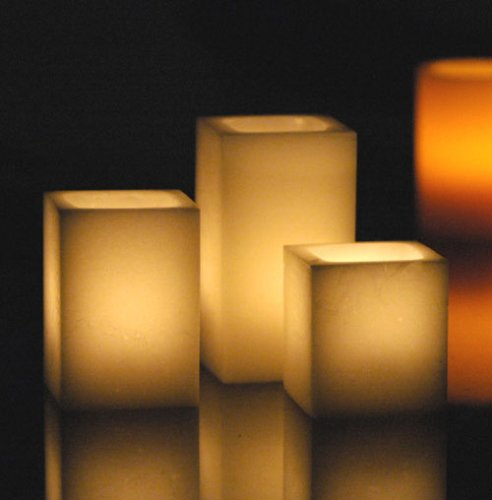 Flameless Flickering Wax Candles - Set of 3