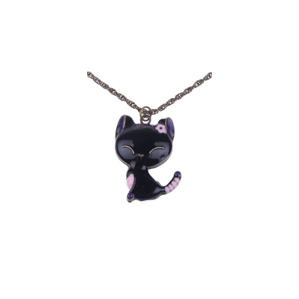 Retro Style Drops of Oil Painting Cute Cat Pendant Necklace (Model X010247) (Black) Jewelry