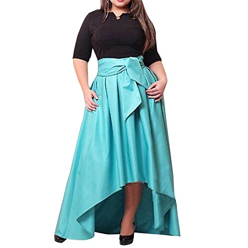 Umanak Fancy Women's Half Sleeve Patchwork Asymmetric Party Ruched Dress BlueXL4X Nice (School Girl Fancy Dress Ideas)