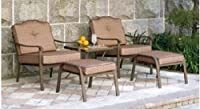 5 Piece Outdoor Leisure Set, Gold, Seats 2 - Patio Deck Furniture Set Comes with One Table and Two Chairs, Two Ottomans