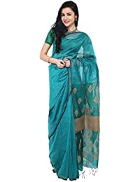 The Weave Traveller Women's Dark Green Handloom Silk Cotton Jamdani Saree With Blouse Piece