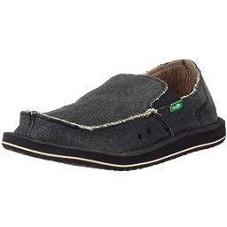 Sanuk Men\'s Vagabond Slip-On Loafer, Charcoal, 11 M US