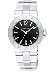 Bvlgari Diagono Black Dial Stainless Steel Ladies Watch DG29BSSD
