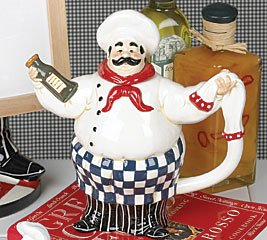 Buy Fat French Chef Leeabaldi Teapot For Bistro Kitchen Decor