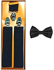 Krystle Black Suspender For Men/Women & Bow Combo