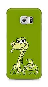 Amez designer printed 3d premium high quality back case cover for Samsung Galaxy S6 Edge (Cartoon green snake)