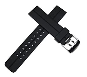 22mm Black Italian Rubber Watch Band for Luminox, Breitling, Omega, Swiss Army & More