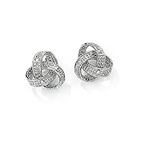 Jewelco London 9ct White Gold - Diamond - Knot Studs Earrings -