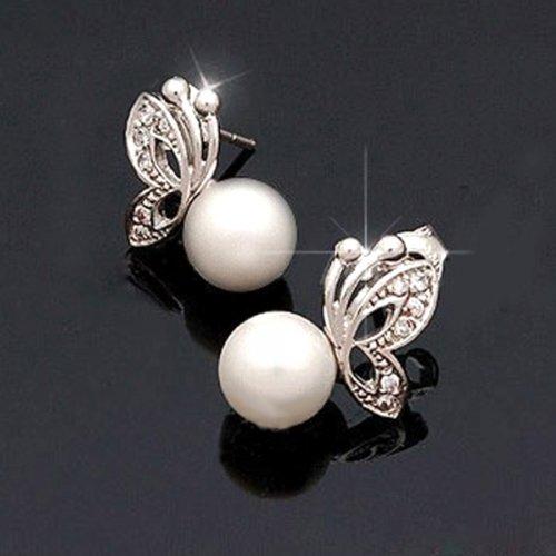 Gorgeous Pearl Alloy Butterfly Stud Earrings By Preciastore