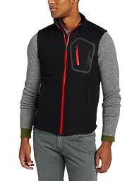 Spyder Men\'s Paramount Full Zip Soft Shell Vest, Black/Volcano, Medium